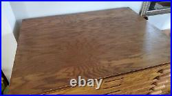 Vintage Oak Flat File Map Cabinet, Store Art, Prints, etc. Modular Design Nice