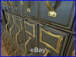 Vintage Pair of Art Metal Vertical Filing Cabinets Green Metal Brass Hardware