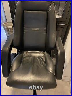 Vintage Recaro Black Leather Racing Seat Style Office Chair