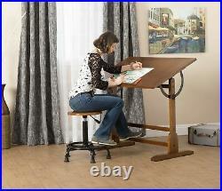 Vintage Rustic Oak Drafting Table, Top Adjustable Drafting Table Craft Table