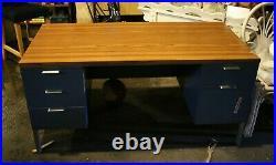 Vintage STEEL CASE Metal Tanker DESK Double Pedestal Laminate Industrial Blue