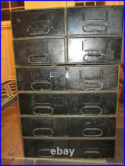 Vintage Safe-T-Stak Diebold 12 Drawer Steampunk Industrial Metal Cabinet