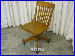 Vintage Solid Golden Oak Office Chair Pedestal Casters & Adjustable Good Cond