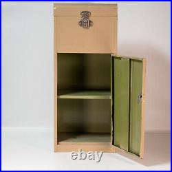 Vintage Steampunk Metal Cabinet Latching Top And Front Door Shelves 30x12x10 MCM