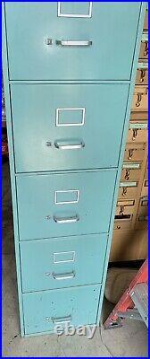 Vintage Steel Mid Century 5 Drawer File Cabinet Turquoise Teal MCM Read Desc