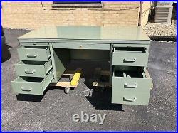 Vintage Steel Tanker Desk by Security Steel Equiptment Corp