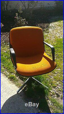 Vintage Steelcase Mid Century Modern Office Swivel Chair- Orange
