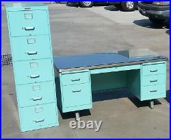 Vintage Steelcase Refurbished Pedestal Deck & File Cabinet Office Suite