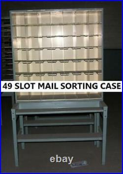 Vintage USPS Metal 49 Slot Mail Sorting Case with Table Shelf & Under Shelf