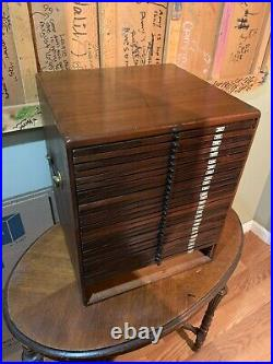 Vintage Wood 30 Drawer Flat File Cabinet MANY USES COINS, STAMPS, JEWELRY, STAMP