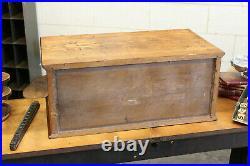 Vtg Antique Industrial Watchmaker Paper File Cabinet 4 Drawer Flat File Oak 1910