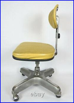 Vtg Cramer Airflow Posture MCM Rolling Armless Office Chair Woven Yellow