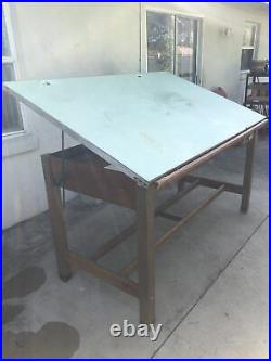 Vtg Hamilton Mfg. Economy Industrial Oak Wood Drafting Table With Tilt Top