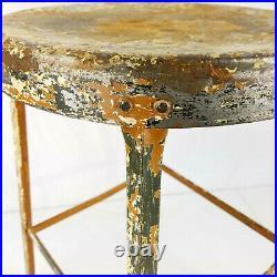 Vtg Industrial Metal Garage Stool, Distressed Painted Steel Work Drafting Chair