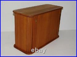 Vtg Teak Mid Century Danish Modern Tambour Door Wall Desk Storage Cabinet Case