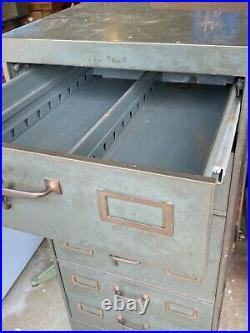 WWII Vintage Steel Index Card file Cabinet/Drawer File 27D x 24 W x 44 T