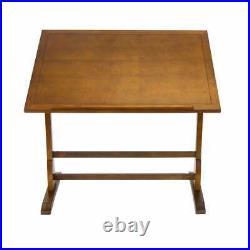 Wood Drafting Table Adjustable Craft Drawing Workstation Vintage Rustic Oak