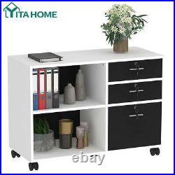 YITAHOME 3 Drawer Wood File Cabinet Lateral Organizer Home Office Storage White