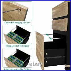 YITAHOME Wood File Cabinet Storage Chest 3-Drawer Wood Rolling Office Furniture